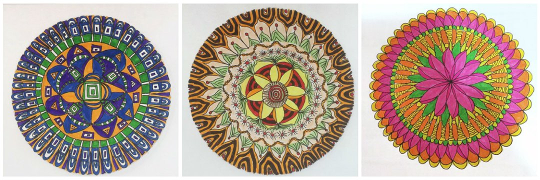 A trio of Mandalas drawn by Denyse Whelan