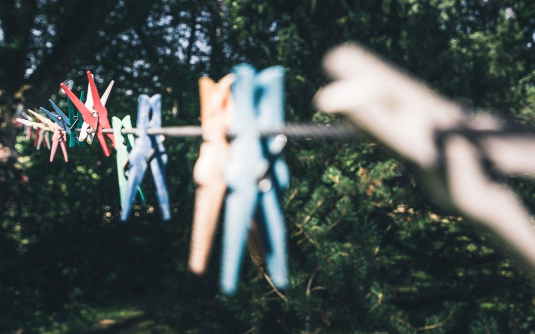 Pegs on a clothesline