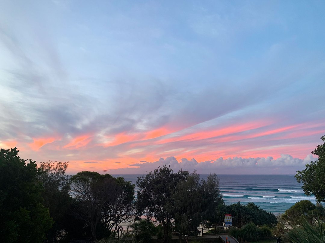 Sunset from apartment at Cylinder Beach, North Stradbroke Island, Queensland, Australia.