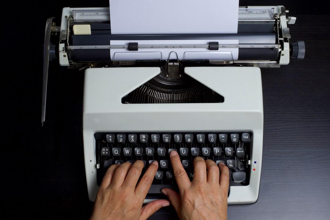 1980's Typist on a manual typewriter