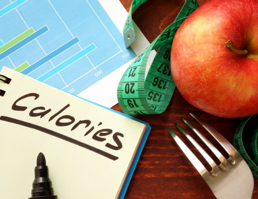 Image of an apple, fork, measuring tape, and calorie counter