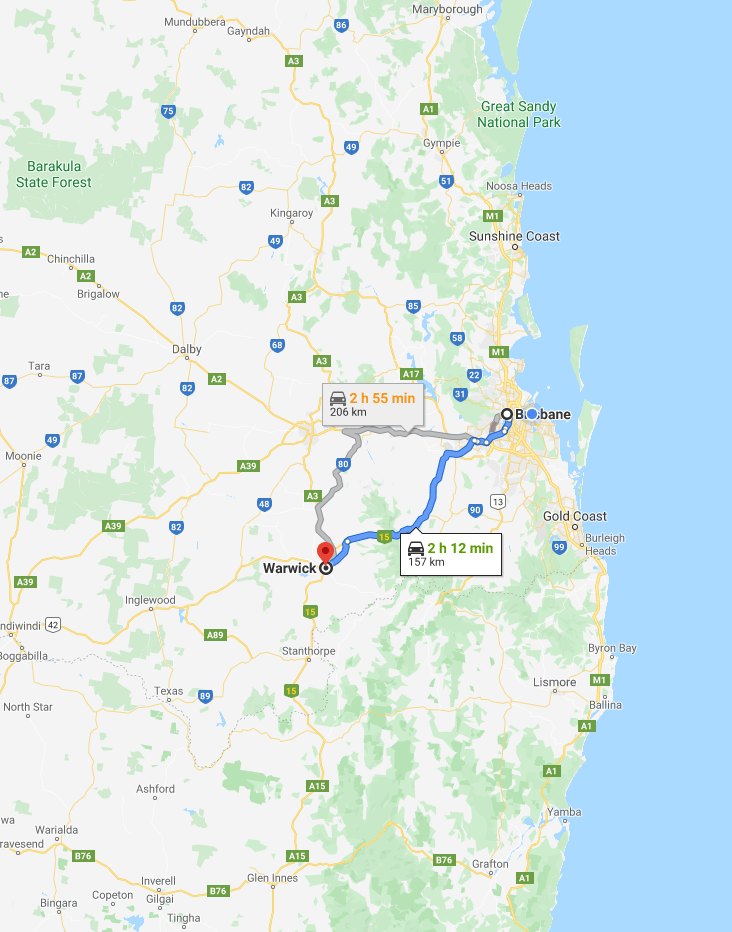 Map - Brisbane to Warwick