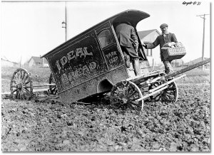 Delivery wagon stuck in mud, Toronto ca. 1911