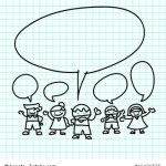 Kids hand draw cartoon on  graph paper.