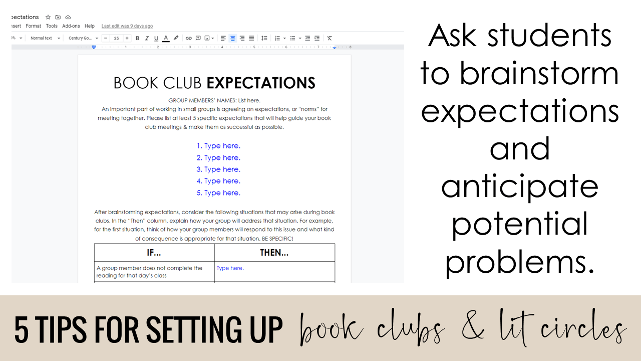 Ask students to brainstorm expectations and anticipate potential problems for the book clubs/lit circles.