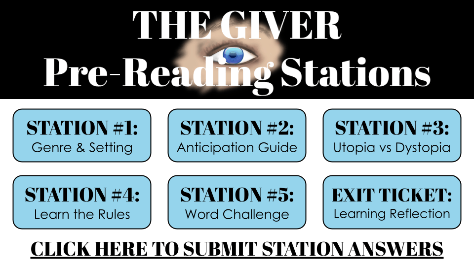 THE GIVER: Pre-Reading Learning Stations