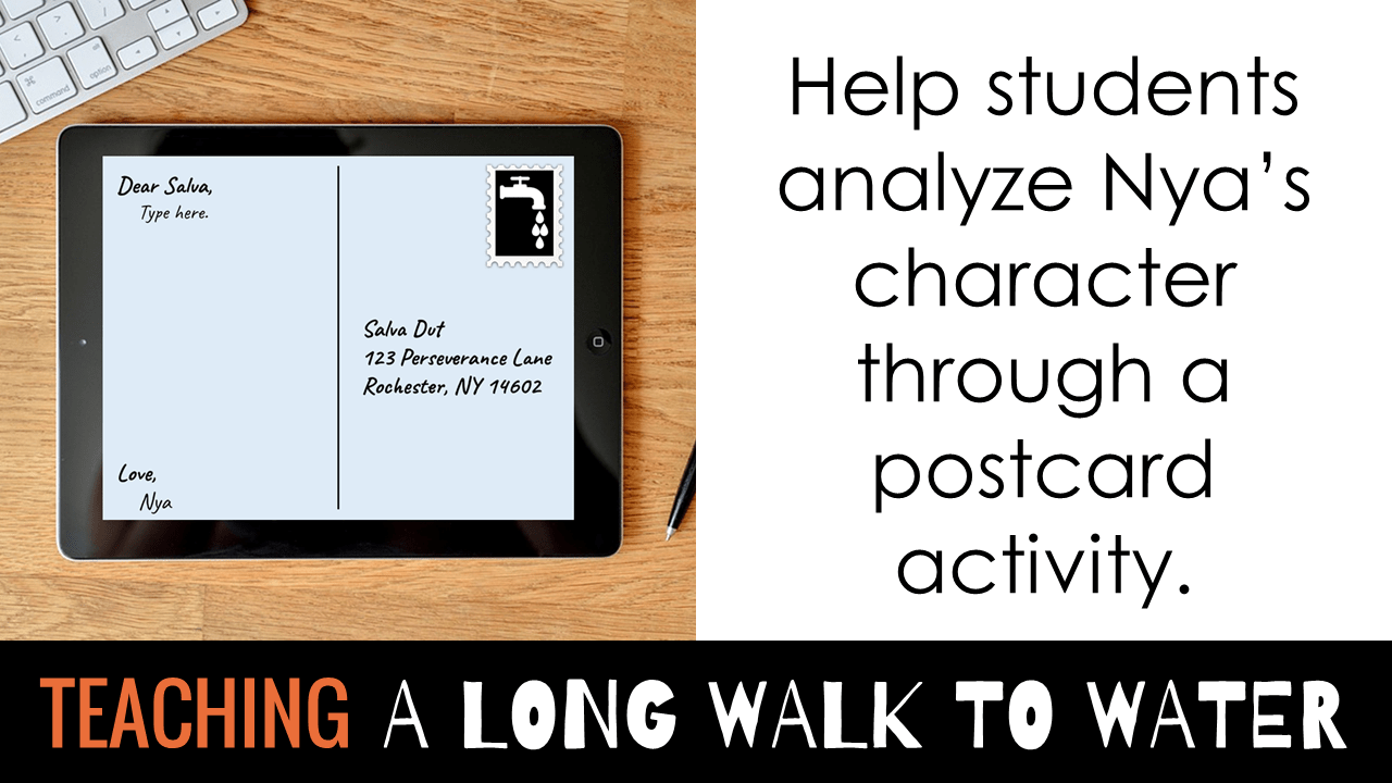A Long Walk to Water postcard activity