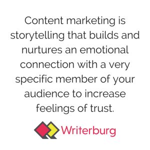 Saskatoon Content marketing Strategy Definition is storytelling that builds and nurtures an emotional connection with a very specific member of your audience to increase feelings of trust.