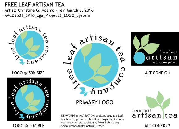 Logo system mockup (for the fictitious Free Leaf Artisan Tea Co.) by Christine G. Adamo of WriteReviseEdit.com