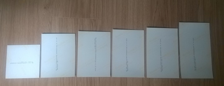 Showing the 6 different sizes of print received