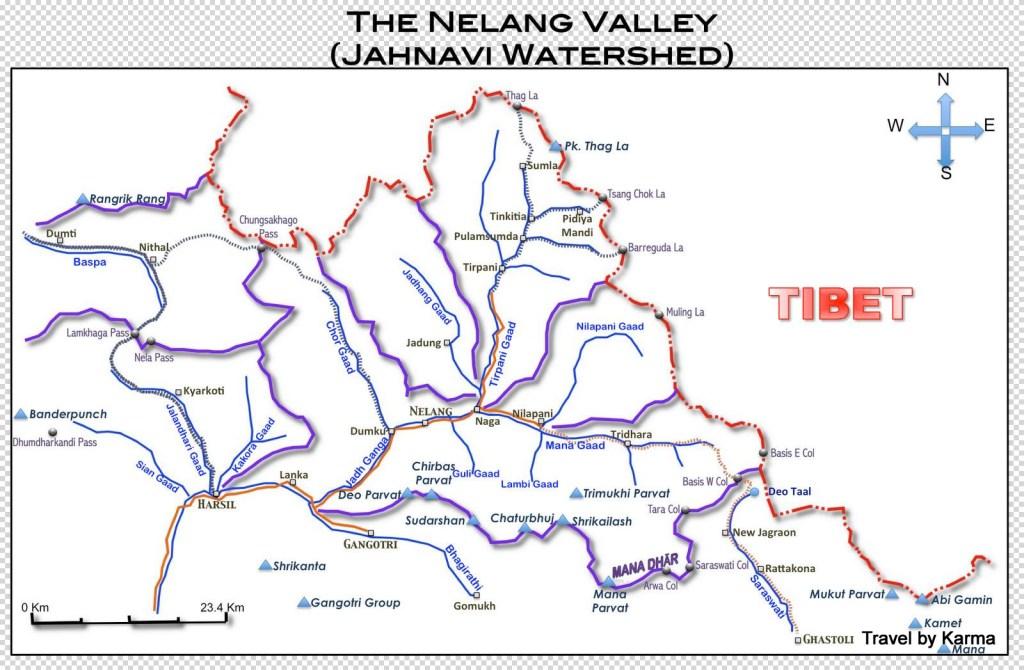 map of nelang and offbeat, hidden valleys of uttarakhand