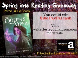 2016 Spring into Reading Giveaway Lesley Donaldson The Queen's Viper 02