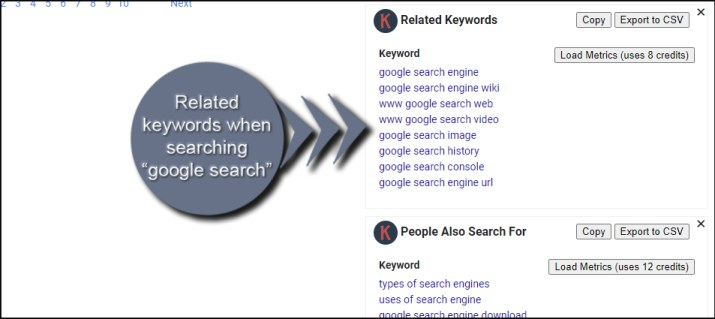 Google Search Related Words
