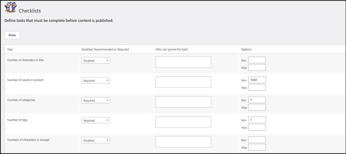 Checklist Items for WordPress