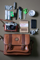 An image of a pouch, camera, notebook, pens and other craft items.