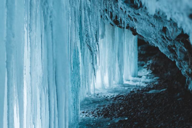 winter waterfall frozen
