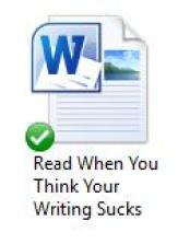"Image of computer file titled ""Read When You Think Your Writing Sucks"""