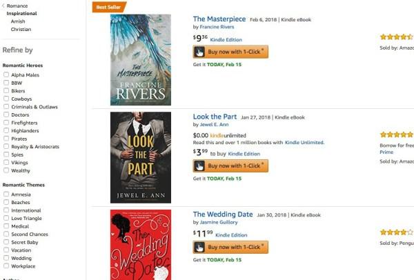 Amazon Inspirational Romance Listings