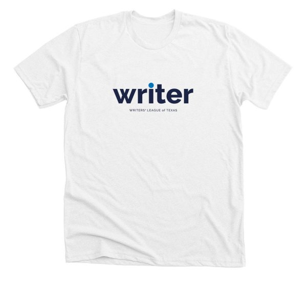 white t shirt with writer in blue text