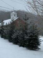 The church across the street from the cabin.