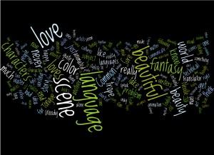 """Wordle imagery -- """"language,"""" """"scene,"""" """"fantasy,"""" """"beauty"""""""