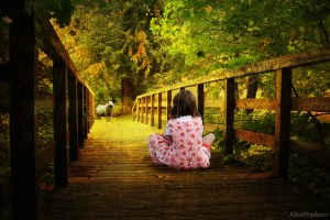child upon bridge