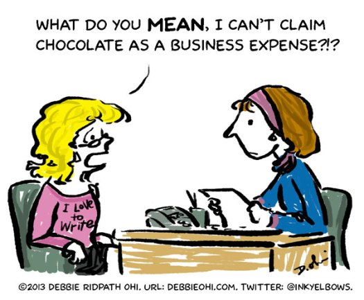 Writer at Tax Time comic by Debbie Ohi