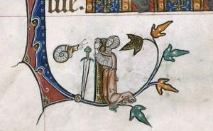 Knight v Snail VI:  The Gastropod Conqueror (from the Gorleston Psalter, England (Suffolk), 1310-1324, Add MS 49622, f. 162v)  | Medieval Manuscripts Blog, British Library, Sarah J. Biggs