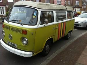 Green VW camper van