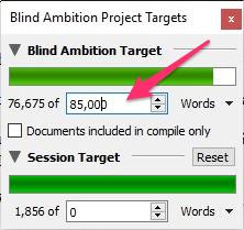 Win entering a manuscript target