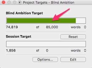 Mac progress bar for manuscript target