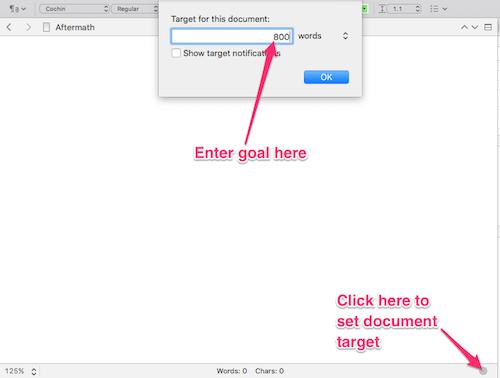 mac entering document target