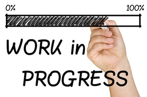 "progress bar with ""Work in progress"" beneath"