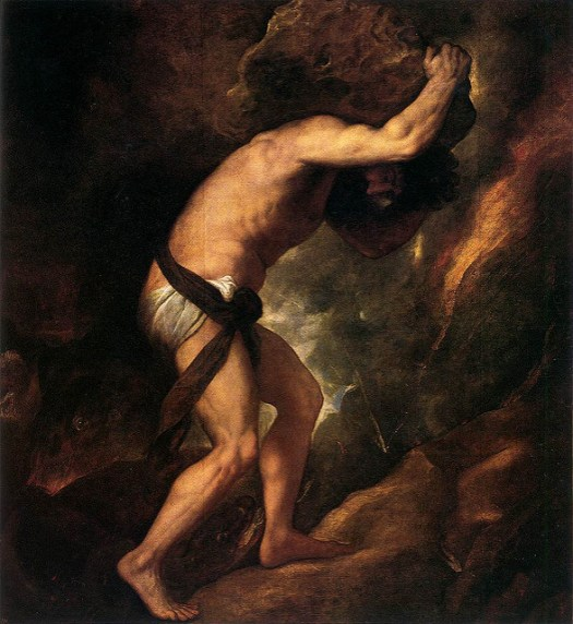 Painting of Sisyphus rolling a boulder up a hill