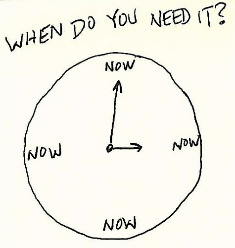 When do you need it? Now.