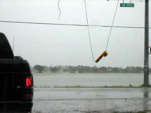 downed street light caused by a hurricane