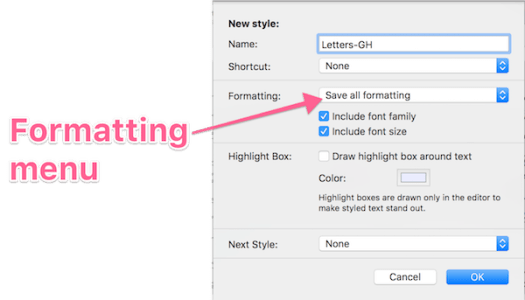 Styles panel with Formatting menu annotated