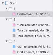 Binder displaying documents in folders, with their icons colored blue, pink, or gray
