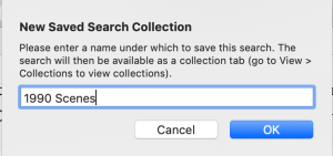 new search collection dialog box