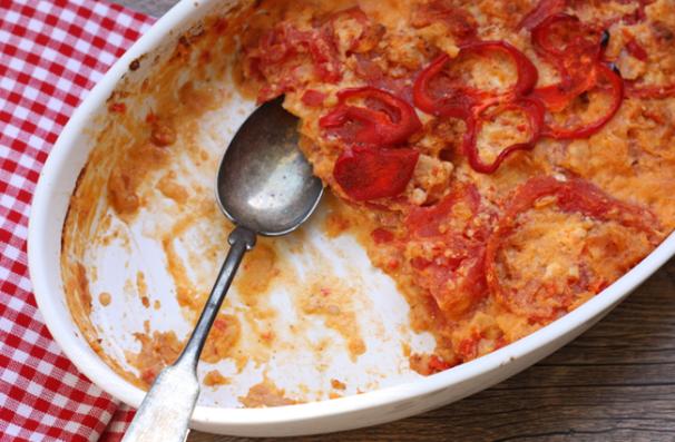 late summer cheddar and tomato gratin | writes4food.com