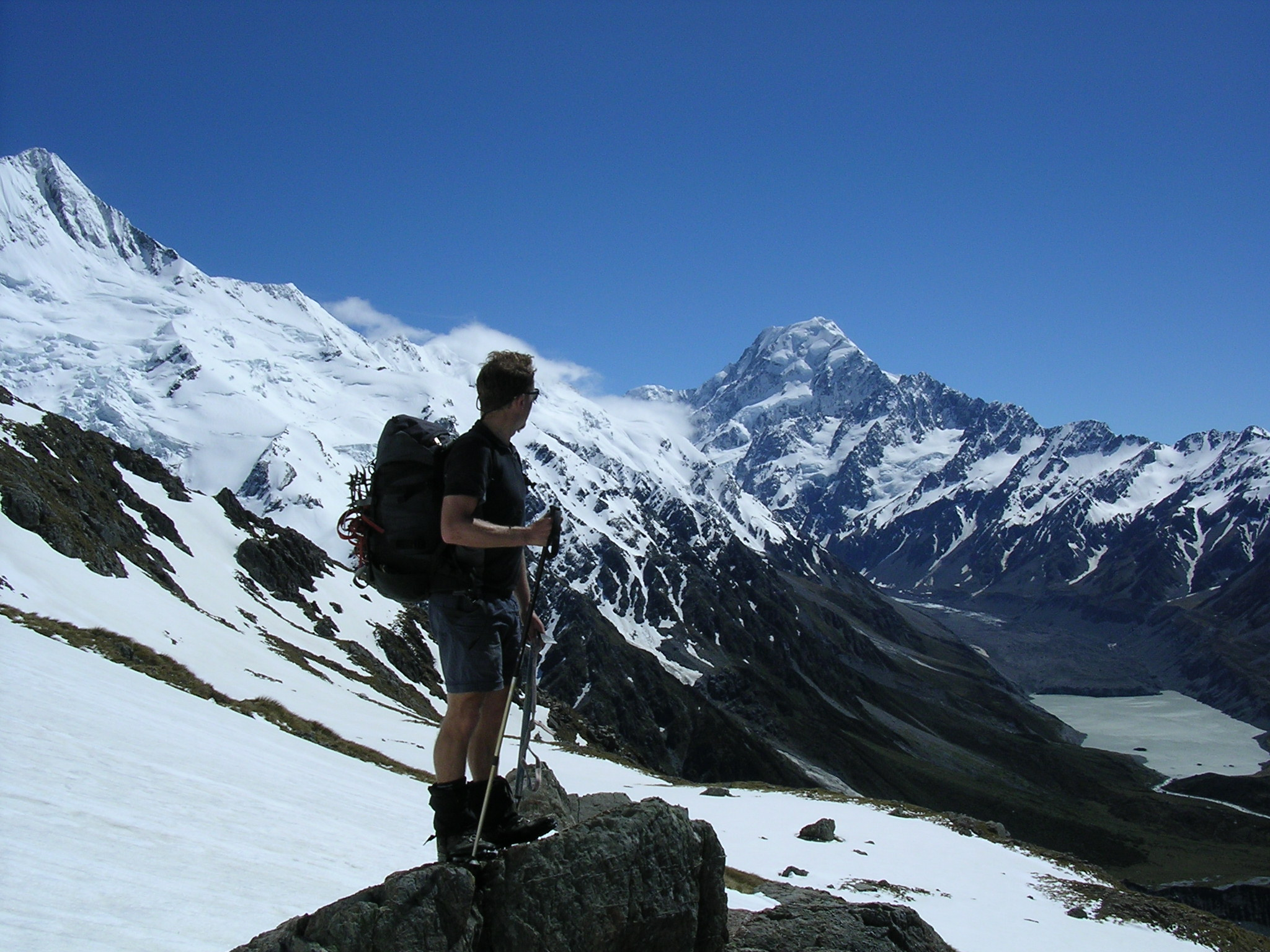 Andy respects Mount Cook from a safe distance