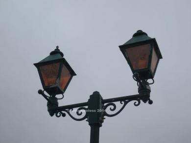 Lamp post close-up, Moss Beach Distillery