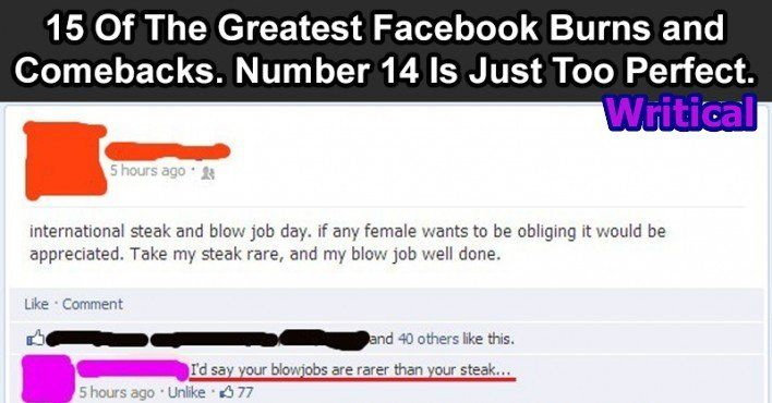 15 Ultimate Comebacks And Burns In Facebook History 8 Is