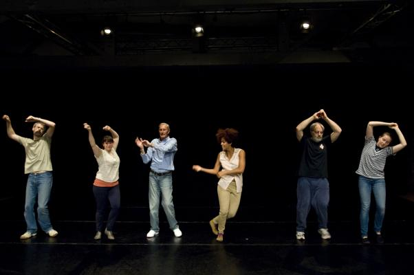The core cast of Dad Dancing including the elusive Andy Webb