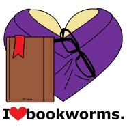 smooth purple bookworm, brown book