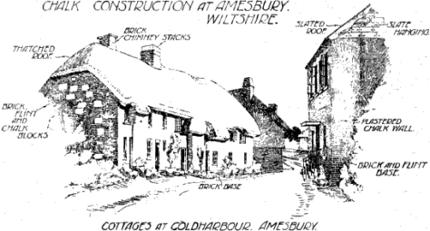 Chalk Construction at Amesbury, Wilts. (From a sketch by W. R. Jaggard, F.R.I.B.A., the copyright of the Department of Scientific and Industrial Research.)