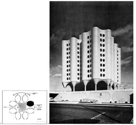 St Joseph's Hospital, Tacoma, with a schematic plan of the design for the surgical rooms. Goldberg: Dans la Ville
