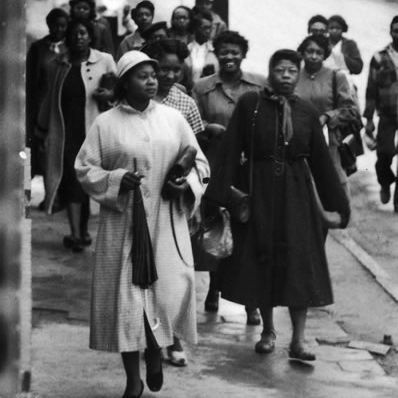 African-American women were the backbone of the Montgomery bus boycott. Here black women walk to work in February 1956. (p 109)