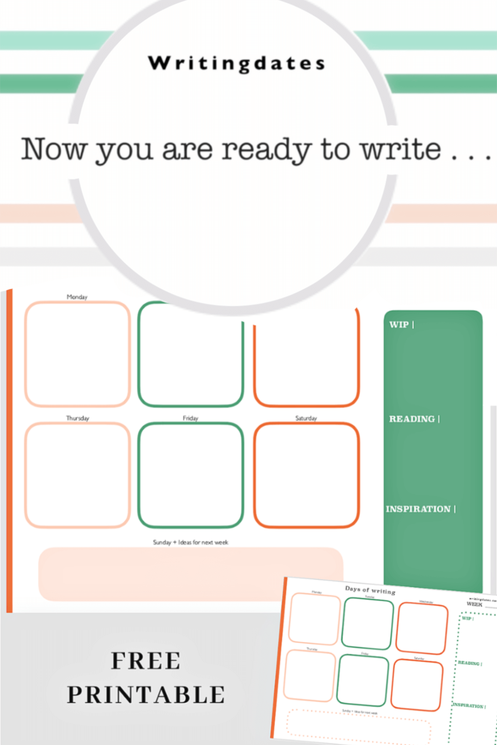 Free printable for planning 2020. A weekly and a monthly schedule and stationary you can take with you on the first writing date of January.