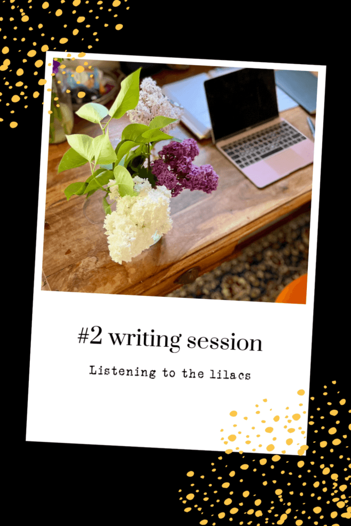 Writing session. Find encouragement to write from the white and purple lilacs